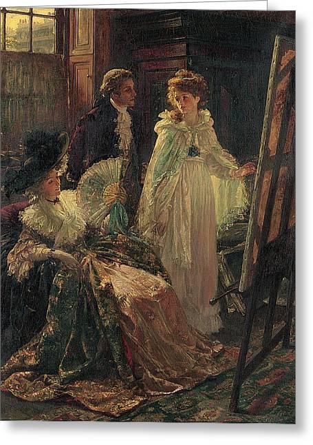 Miss Angel Visits Mr Reynolds Studio Greeting Card by Margaret Isabel Dicksee