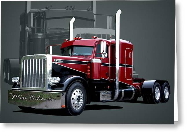 Miss Behavin 1990 Peterbilt Semi Truck Greeting Card