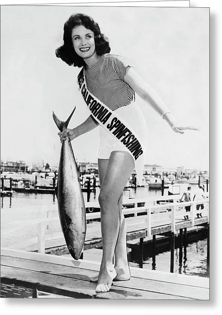 Miss California Spin Casting Greeting Card by Underwood Archives