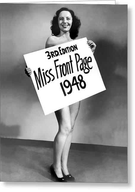 Miss Front Page Of 1948. Greeting Card by Underwood Archives