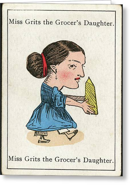 Miss Grits The Grocer's  Daughter Greeting Card by Mary Evans Picture Library