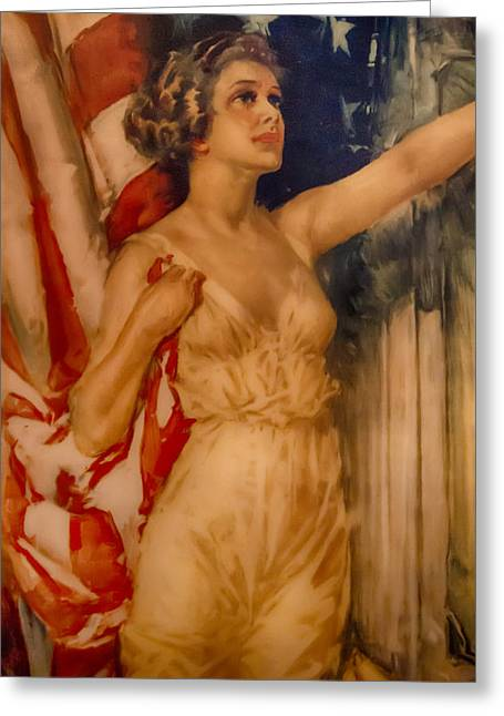 Miss Liberty Greeting Card by John Haldane
