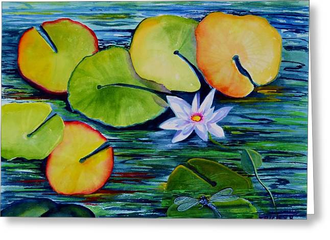 Whimsical Waterlily Greeting Card