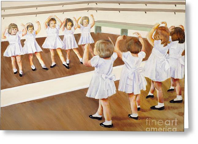 Greeting Card featuring the painting Miss Lum's Ballet Class by Cynthia Parsons