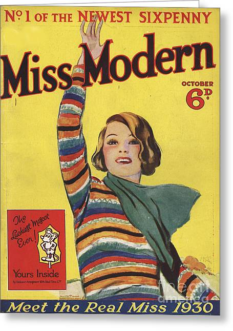 Miss Modern 1930 1930s Uk First Issue Greeting Card by The Advertising Archives
