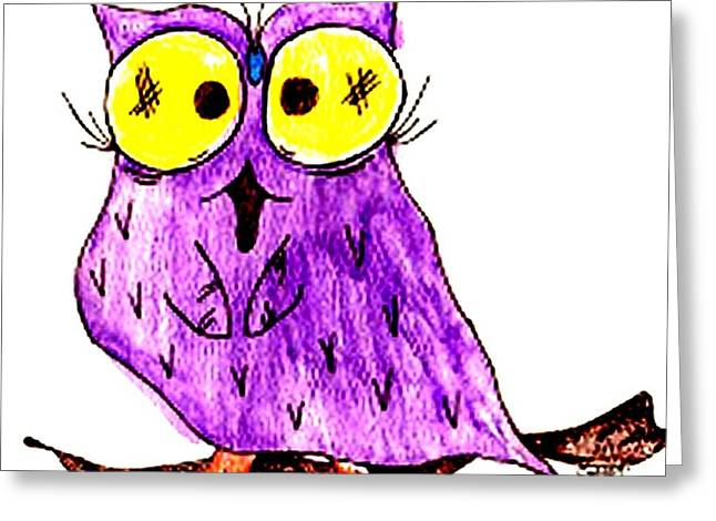 Miss Owl Greeting Card by Donna Daugherty