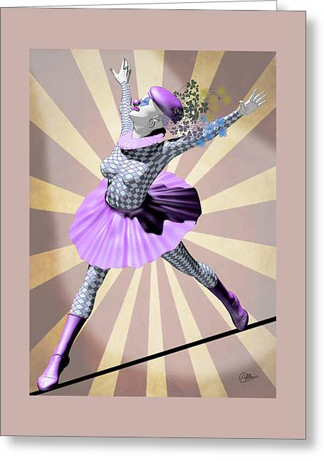 Miss Pierrette Tightrope Greeting Card by Quim Abella