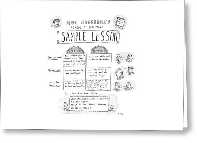 Miss Underhill's School Of Writing Sample Lesson Greeting Card