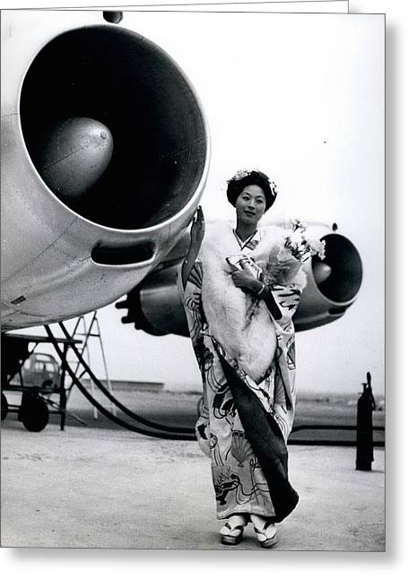 Miss Universe Opens Polar Route Of Air Franc Greeting Card by Retro Images Archive