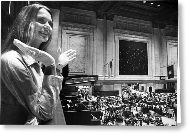 Miss Usa Visits Stock Exchange Greeting Card by Underwood Archives
