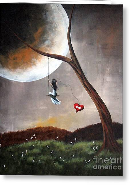 Original Surreal Artwork Girl On Swing Greeting Card