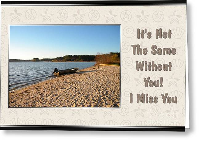 Greeting Card featuring the digital art Miss You Lake Crabtree by JH Designs
