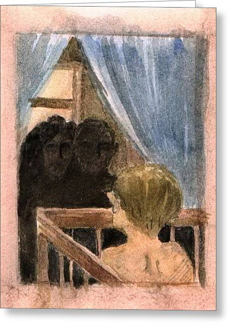 Greeting Card featuring the painting Missing You Or Loneliness by Mikhail Savchenko