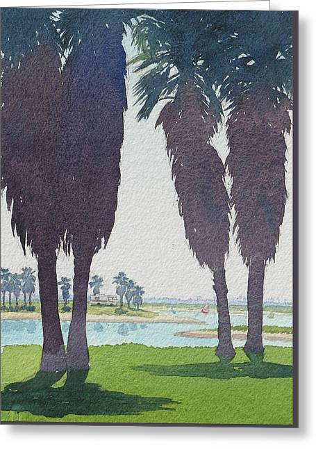 Mission Bay Park With Palms Greeting Card