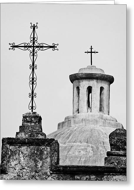 Greeting Card featuring the photograph Mission Concepcion Crosses by Andy Crawford