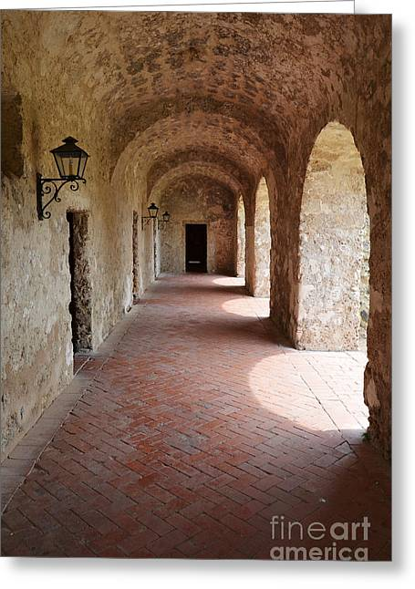 Mission Concepcion Promenade Walkway In San Antonio Missions National Historical Park Texas Vertical Greeting Card by Shawn O'Brien