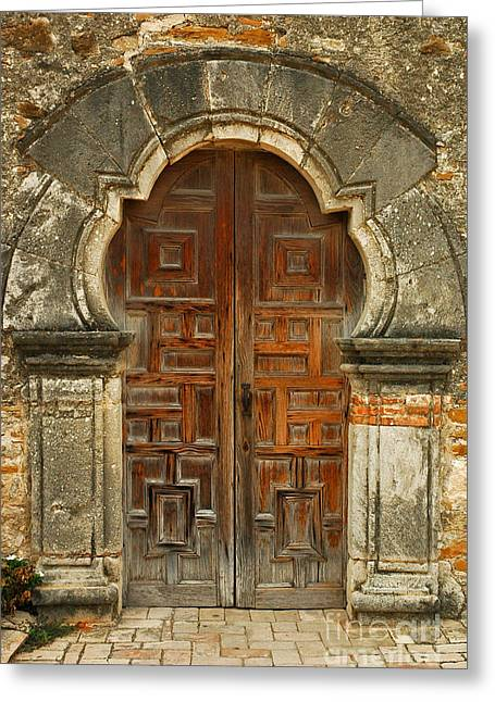 Greeting Card featuring the photograph Mission Espada Door  by Olivia Hardwicke