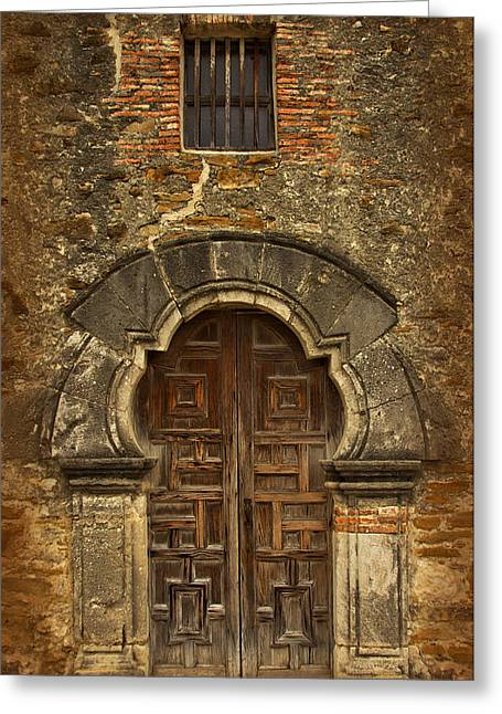 Greeting Card featuring the photograph Mission Espada Doorway by Jemmy Archer
