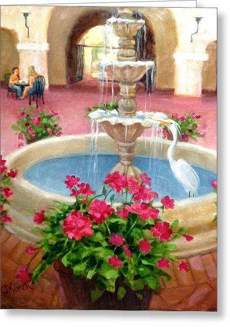 Mission Inn Fountain Greeting Card by Janet McGrath