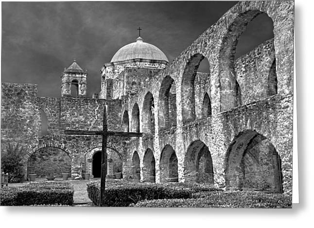 Mission San Jose Arches Bw Greeting Card