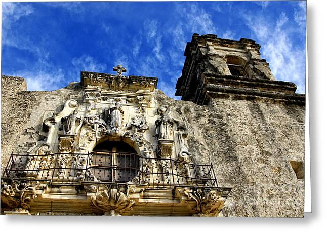Greeting Card featuring the photograph Mission San Jose Balcony And Tower by Lincoln Rogers
