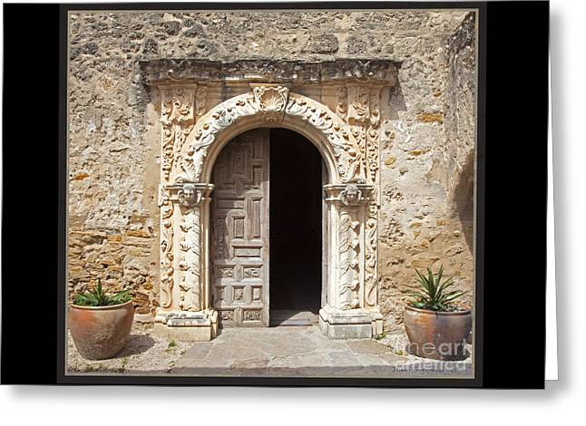 Mission San Jose Chapel Entry Doorway Greeting Card by John Stephens