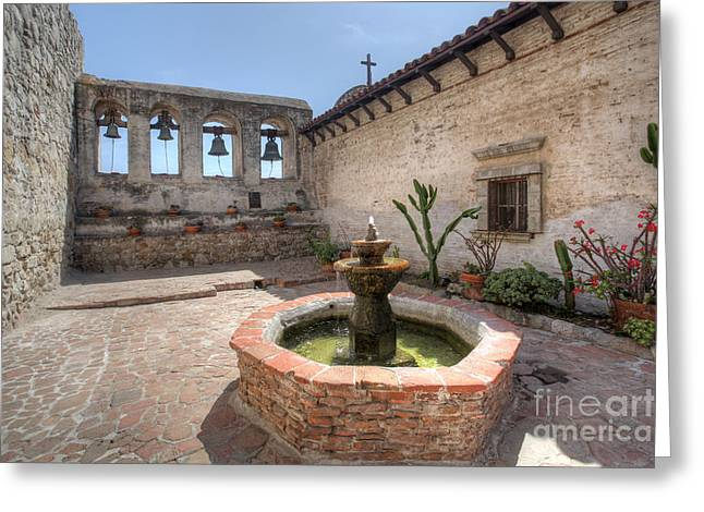 Greeting Card featuring the photograph Mission Bells San Juan Capistrano by Martin Konopacki