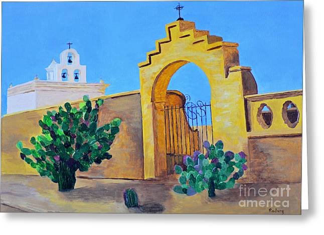 Greeting Card featuring the painting Mission San Xavier by Rodney Campbell