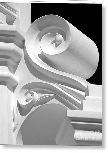 Mission Shapes And Shadows - Shades Of Grey Greeting Card by Douglas Taylor