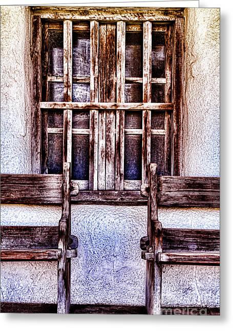 Mission Soledad Window Seating By Diana Sainz Greeting Card