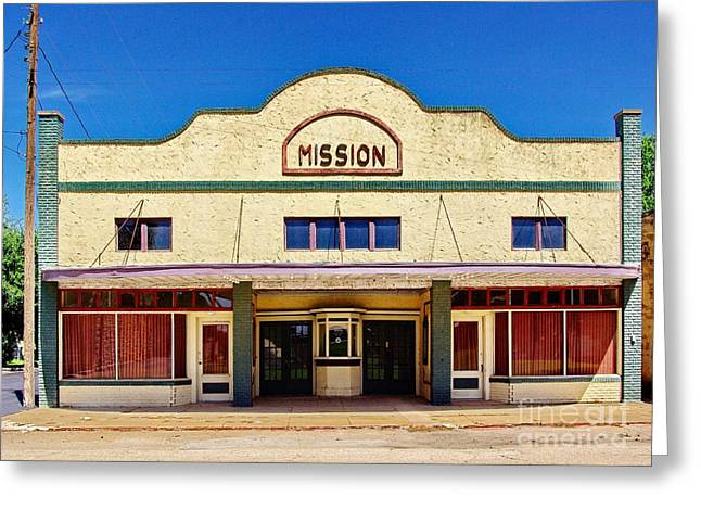 Mission Theater Greeting Card by Gary Richards