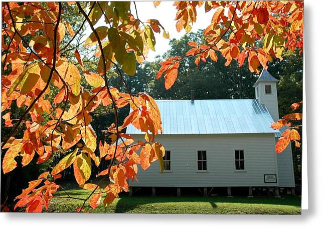 Missionary Baptist Church Autumn Afternoon Greeting Card by John Saunders