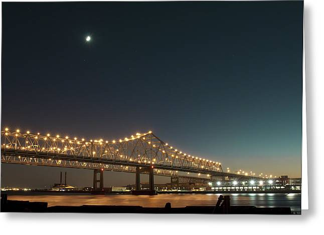 Greeting Card featuring the photograph Mississippi Bridge Moonlight by Ray Devlin