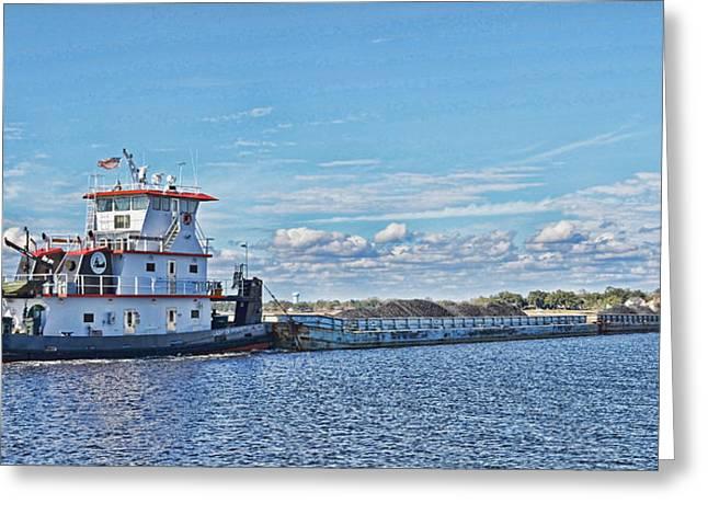 Mississippi Coal Barge Greeting Card