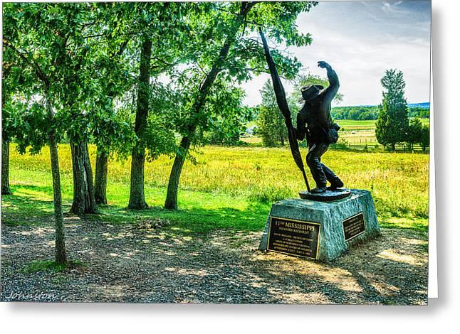 Mississippi Memorial Gettysburg Battleground Greeting Card by Bob and Nadine Johnston