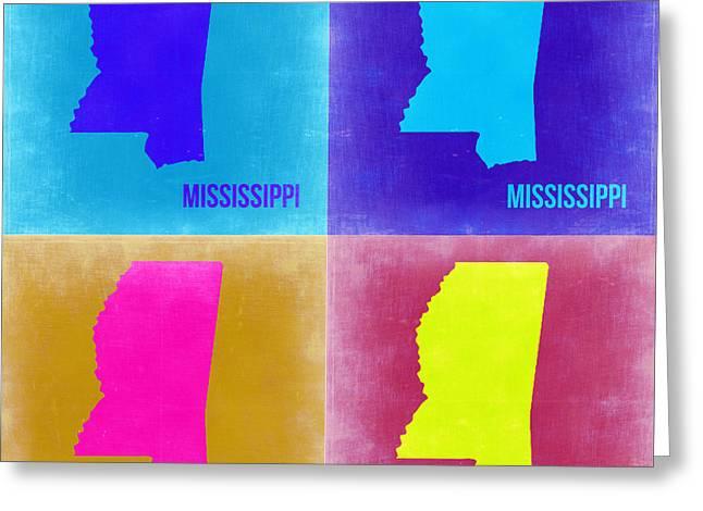 Mississippi Pop Art Map 2 Greeting Card by Naxart Studio