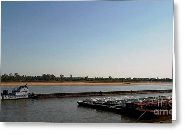 Greeting Card featuring the photograph Mississippi River Barge by Kelly Awad