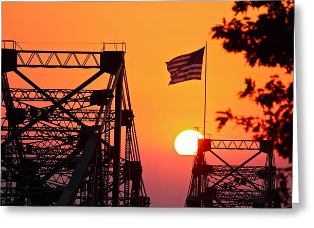 Mississippi River Bridge Sunset Greeting Card