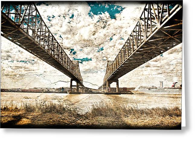 Greeting Card featuring the photograph Mississippi River Bridge Twin Spans by Ray Devlin