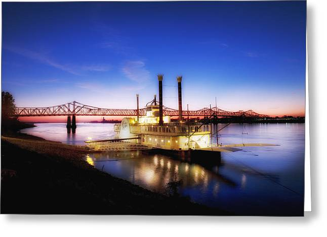 Mississippi River Casino Boat Sunset Greeting Card
