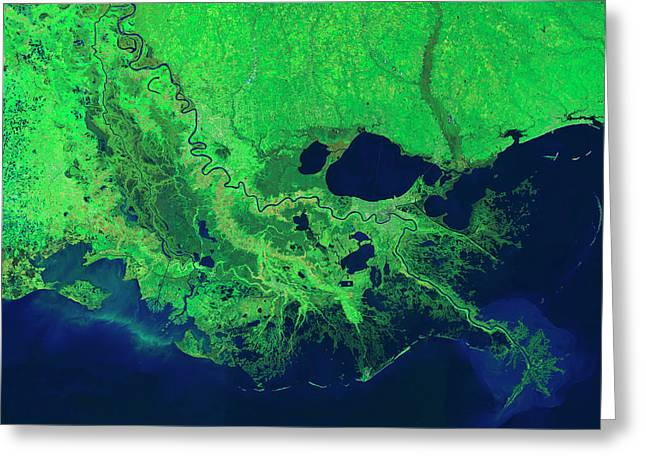 Mississippi River Control Systems Greeting Card by Nasa