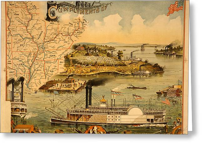 Mississippi River Steamboat  Executed By The Heliotype Greeting Card by Litz Collection