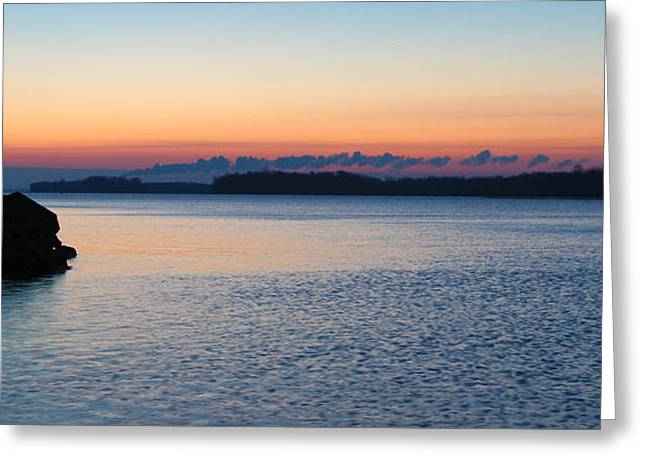 Mississippi River Sunrise Greeting Card by David Yunker
