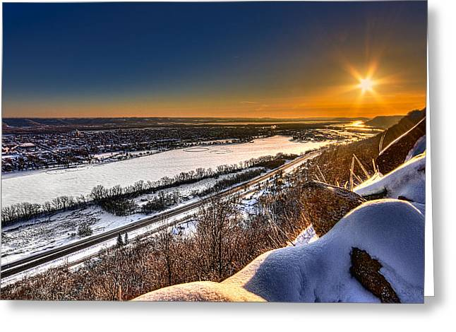 Mississippi River Sunrise Greeting Card by Tom Gort