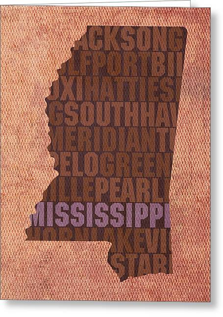 Mississippi Word Art State Map On Canvas Greeting Card by Design Turnpike