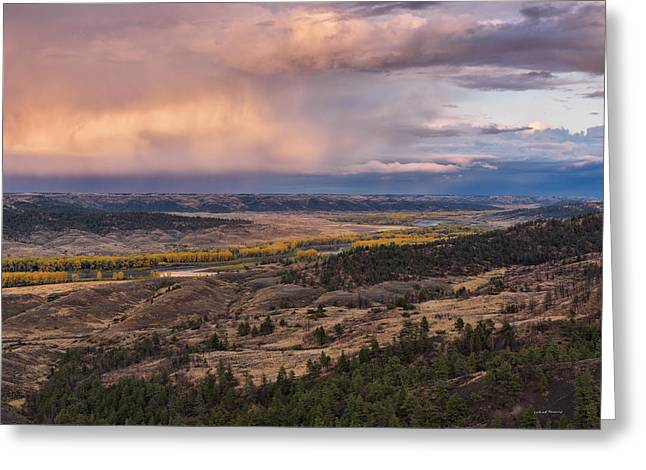 Missouri River Storm Sunset Greeting Card by Leland D Howard