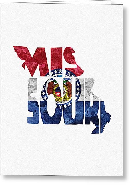 Missouri Typographic Map Flag Greeting Card by Ayse Deniz