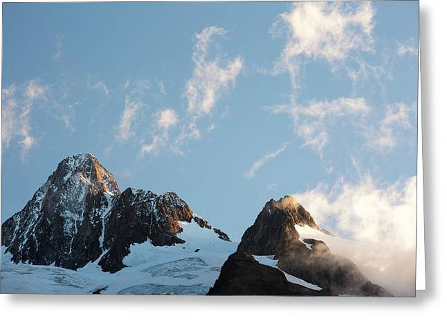 Mist Around The Aig Des Glaciers Greeting Card by Ashley Cooper