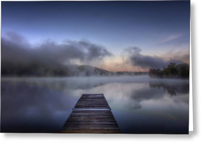 Mist At Lake Logan Greeting Card