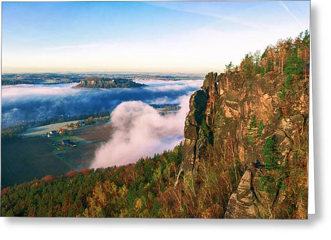 Mist Flow Around The Fortress Koenigstein Greeting Card